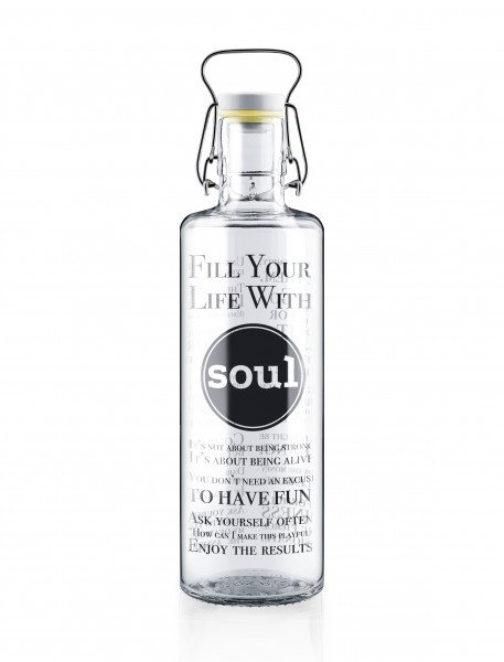 """Glas-Trinkflasche 1 Liter, """"Fill your Life with Soul"""""""