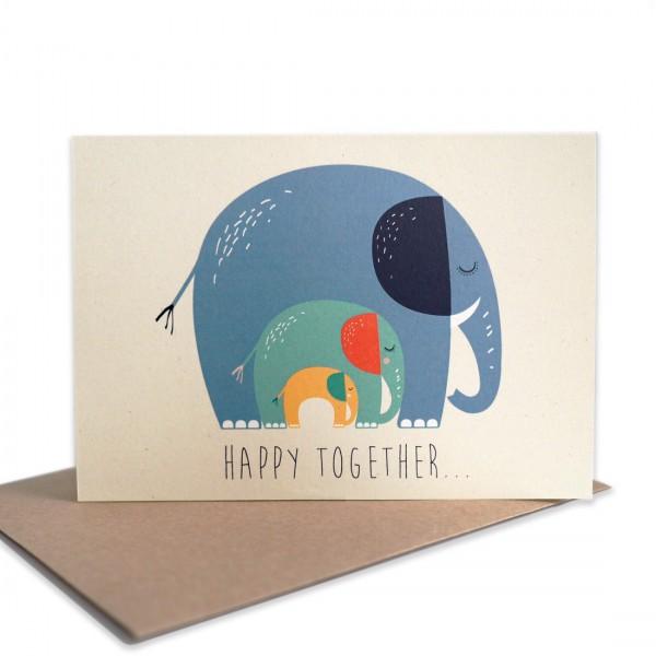 Grußkarte Elefanten 'Happy Together'